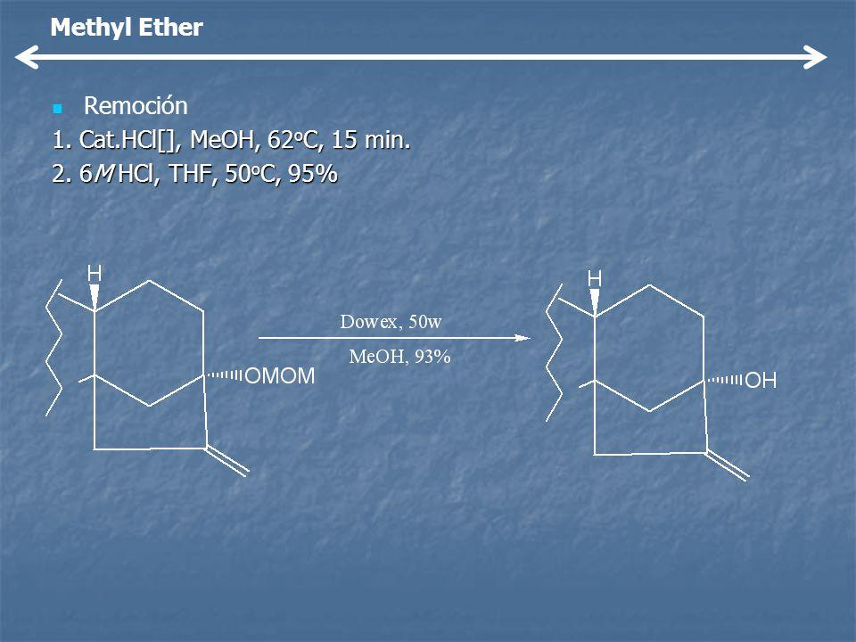 Methyl Ether Remoción 1. Cat.HCl[], MeOH, 62oC, 15 min. 2. 6M HCl, THF, 50oC, 95%